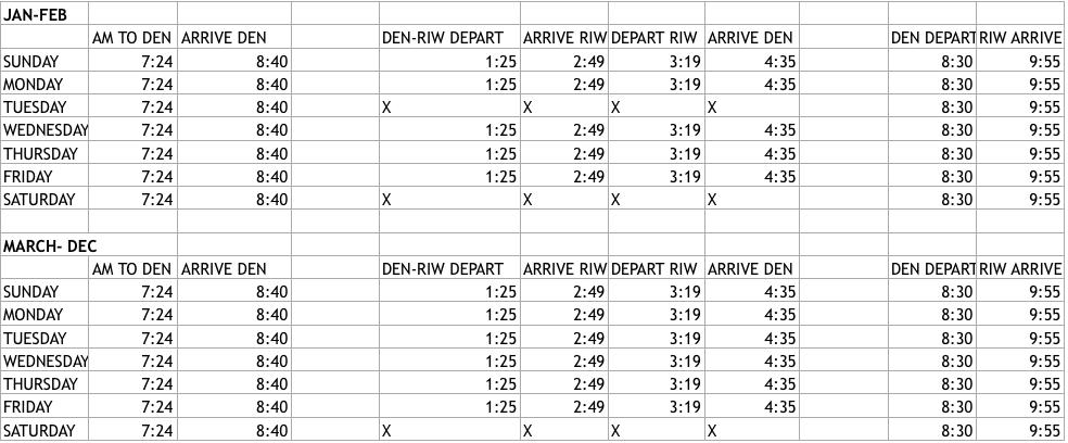 Fly Riverton Skywest Schedule