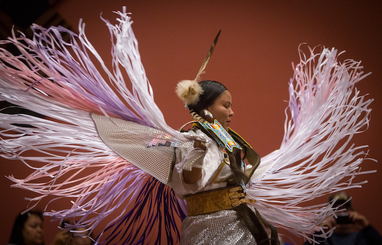 Native American woman doing fancy shawl dance at Wind River Hotel & Casino in Riverton, Wyoming